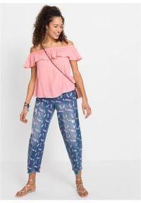 Bluzka bez rękawów, z koronkową tasiemką bonprix pastelowy jasnoróżowy. Kolor: różowy. Materiał: koronka. Długość rękawa: bez rękawów