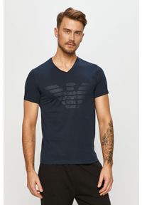 Niebieski t-shirt Emporio Armani casualowy, z nadrukiem, na co dzień