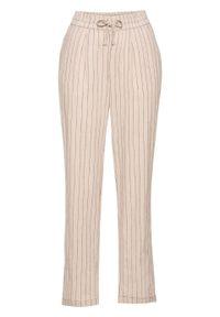 Spodnie lniane TENCEL™ Lyocell bonprix beżowo-czarny w paski. Kolor: szary. Materiał: lyocell, len. Wzór: paski