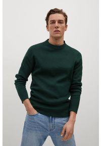 Zielony sweter Mango Man z długim rękawem, casualowy, na co dzień