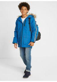 Niebieska kurtka bonprix na zimę, z kapturem, z napisami