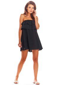 Awama - Czarna Zwiewna Mini Sukienka z Hiszpańskim Dekoltem. Kolor: czarny. Materiał: wiskoza, elastan. Długość: mini