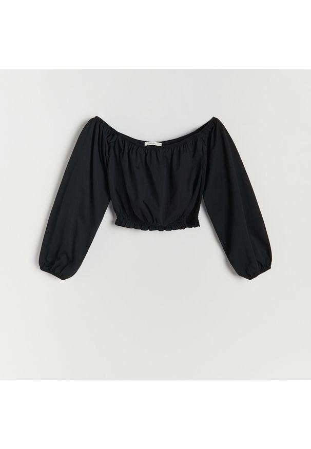 Reserved - Bluzka z odkrytymi ramionami - Czarny. Kolor: czarny