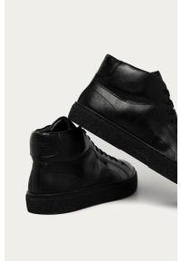 Czarne sneakersy Calvin Klein z okrągłym noskiem, na sznurówki, z cholewką