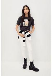 Szara bluzka z krótkim rękawem Mango Kids casualowa, krótka