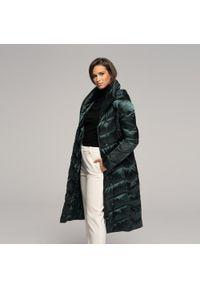 Zielony płaszcz Wittchen z kapturem, elegancki