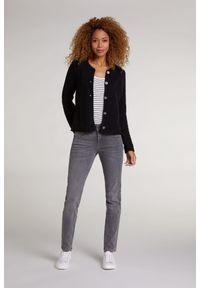 Rozpinany sweter z okrągłym dekoltem Oui. Kolor: czarny. Materiał: bawełna, dzianina, akryl. Długość rękawa: długi rękaw. Długość: długie