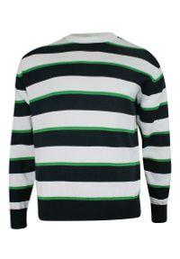 Niebieski sweter w paski, klasyczny, na jesień
