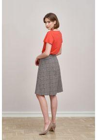 Marie Zélie - Spódnica Driada wełna w kratę czarno-białą z czerwienią. Kolor: wielokolorowy, biały, czarny, czerwony. Materiał: wełna. Wzór: motyw zwierzęcy