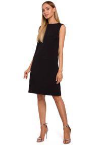 Czarna sukienka wizytowa MOE elegancka, z dekoltem na plecach