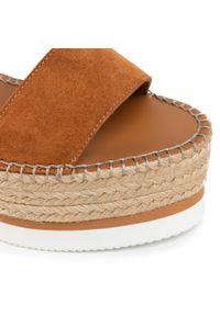 Brązowe sandały See By Chloé casualowe, na co dzień, na obcasie, na średnim obcasie