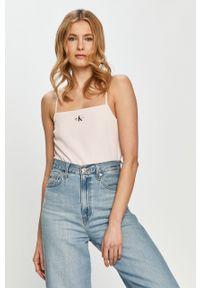 Różowa bluzka Calvin Klein Jeans na ramiączkach, z aplikacjami