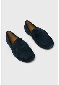 Niebieskie mokasyny Polo Ralph Lauren z cholewką