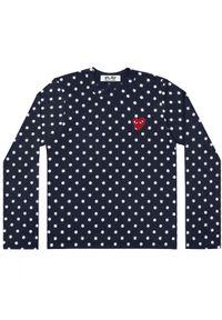 COMME DES GARCONS PLAY - Granatowa bluzka w kropki. Kolor: niebieski. Materiał: jeans, bawełna. Długość rękawa: długi rękaw. Długość: długie. Wzór: kropki. Styl: elegancki