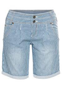 Krótkie spodenki dżinsowe bonprix niebieski w paski. Kolor: niebieski. Długość: krótkie. Wzór: paski