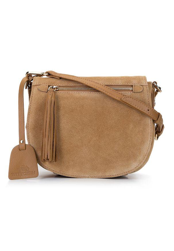 Wittchen - Damska listonoszka saddle bag z zamszu. Wzór: haft. Dodatki: z haftem. Materiał: zamszowe, skórzane. Styl: elegancki