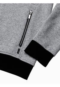 Ombre Clothing - Bluza męska rozpinana z kapturem B1218 - szara - XXL. Typ kołnierza: kaptur. Kolor: szary. Materiał: bawełna, poliester