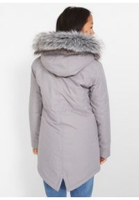 Szary płaszcz bonprix krótki, z kapturem