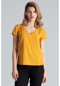 Figl - Musztardowa Bluzka w Liście z Trójkątnym Dekoltem. Kolor: żółty. Materiał: elastan, poliester