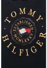 Niebieska bluza nierozpinana TOMMY HILFIGER z kapturem, na co dzień, z aplikacjami