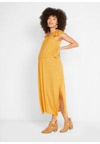 Długa sukienka ciążowa i do karmienia TENCEL™ Lyocell bonprix żółty w kwiaty. Kolekcja: moda ciążowa. Kolor: żółty. Materiał: lyocell. Wzór: kwiaty. Sezon: lato. Długość: maxi #3