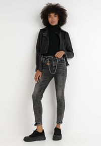 Born2be - Czarne Jeansy Skinny Eusede. Kolor: czarny. Długość: długie. Wzór: aplikacja