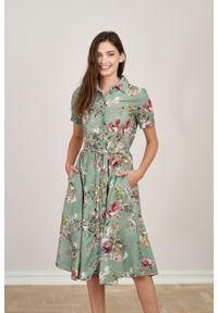 Marie Zélie - Sukienka Marina Jasmine. Materiał: wiskoza, len, materiał. Długość rękawa: krótki rękaw. Sezon: lato. Typ sukienki: szmizjerki