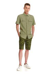 TOP SECRET - Koszula z lnem taliowana. Okazja: na co dzień. Kolor: zielony. Materiał: len. Długość rękawa: krótki rękaw. Długość: krótkie. Sezon: lato, wiosna. Styl: casual #8