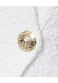 Balmain - BALMAIN - Sukienka tweedowa. Kolor: biały. Materiał: materiał. Długość rękawa: długi rękaw. Wzór: aplikacja. Długość: mini