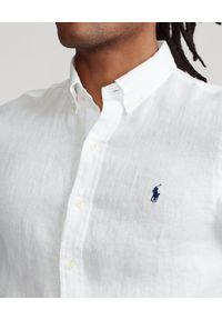 Ralph Lauren - RALPH LAUREN - Biała lniana koszula Lightweight Slim Fit. Typ kołnierza: polo. Kolor: biały. Materiał: len. Długość rękawa: długi rękaw. Długość: długie. Wzór: haft. Styl: elegancki #6