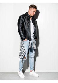 Ombre Clothing - Ramoneska męska C413 - czarna - XXL. Okazja: na co dzień. Typ kołnierza: kołnierzyk stójkowy. Kolor: czarny. Materiał: materiał, poliester. Styl: casual