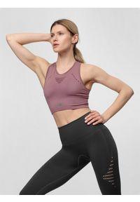 4f - Top treningowy damski. Kolor: różowy. Materiał: włókno, dzianina, materiał. Wzór: gładki. Sport: fitness