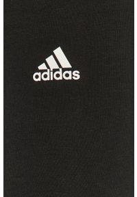 Czarne legginsy Adidas z podwyższonym stanem, z nadrukiem