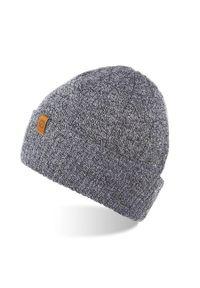 Szara czapka BRODRENE elegancka, na zimę, z aplikacjami