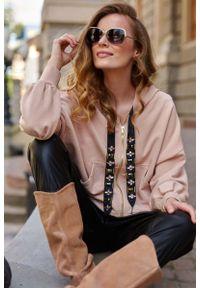 Brązowa bluzka z długim rękawem Makadamia z kapturem, glamour