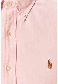 Różowa koszula Polo Ralph Lauren casualowa, button down, długa