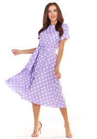 Fioletowa sukienka wizytowa Awama w grochy