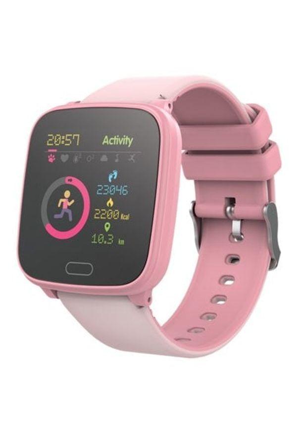 Różowy zegarek FOREVER młodzieżowy, smartwatch