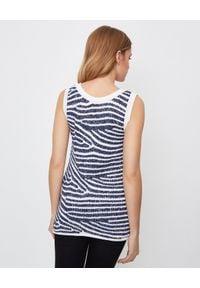 Balmain - BALMAIN - Błyszcząca bluzka w paski. Okazja: na imprezę. Kolor: biały. Materiał: wełna, materiał. Długość rękawa: na ramiączkach. Wzór: paski