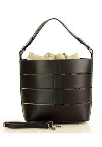 Czarna Torba Skórzana Bucket Letaher Elegante Bag od MARCO MAZZINI. Kolor: czarny. Materiał: skórzane