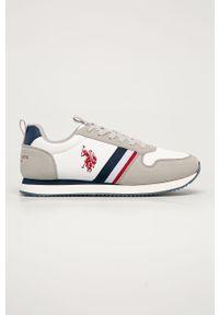 Białe sneakersy U.S. Polo Assn na sznurówki, z cholewką