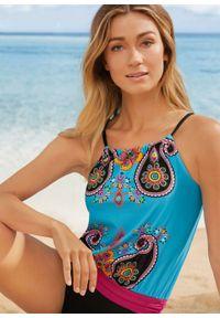 Kostium kąpielowy bonprix turkusowy z nadrukiem. Kolor: niebieski. Wzór: nadruk #4