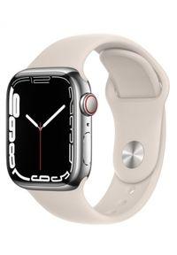 APPLE - Smartwatch Apple Watch 7 GPS+Cellular 41mm stal, srebrny | księżycowa poświata pasek sportowy. Rodzaj zegarka: smartwatch. Kolor: srebrny. Styl: sportowy