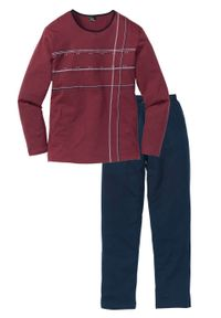 Piżama bonprix ciemnoniebiesko-bordowy. Kolor: niebieski. Długość: długie