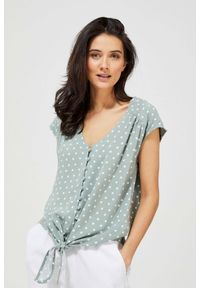 MOODO - Koszula w groszki z wiązaniem. Materiał: wiskoza. Długość rękawa: krótki rękaw. Długość: krótkie. Wzór: grochy