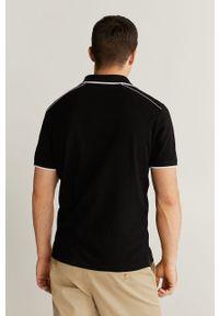 Czarna koszulka polo Mango Man casualowa, na co dzień, z aplikacjami, polo