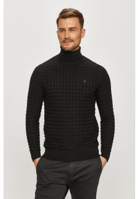 Czarny sweter G-Star RAW długi, z golfem, casualowy