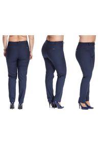 Niebieskie spodnie Moda Size Plus Iwanek w kolorowe wzory, na co dzień, plus size, casualowe