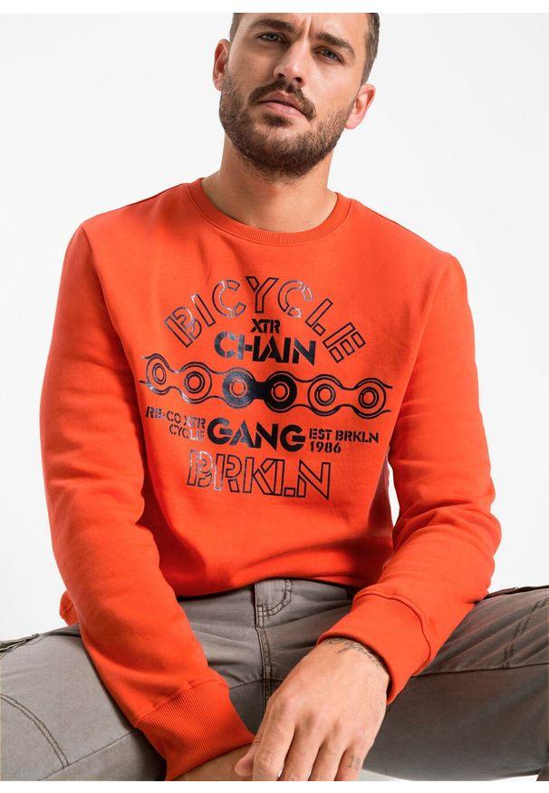 Pomarańczowa bluza bonprix z okrągłym kołnierzem, z nadrukiem