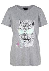 Shirt z nadrukiem, krótki rękaw bonprix jasnoszary melanż. Kolor: szary. Długość rękawa: krótki rękaw. Długość: krótkie. Wzór: nadruk, melanż